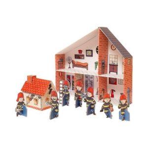Estación de bomberos de cartón de Tektorado. Juguete ecológico