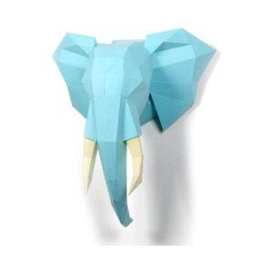 Origami papiroflexia con forma de elefante de gran tamaño en cartón de Endark. Decoración de pared ecológica